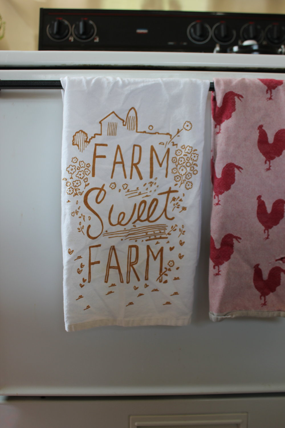 farm sweet farm and rooster kitchen towels.JPG