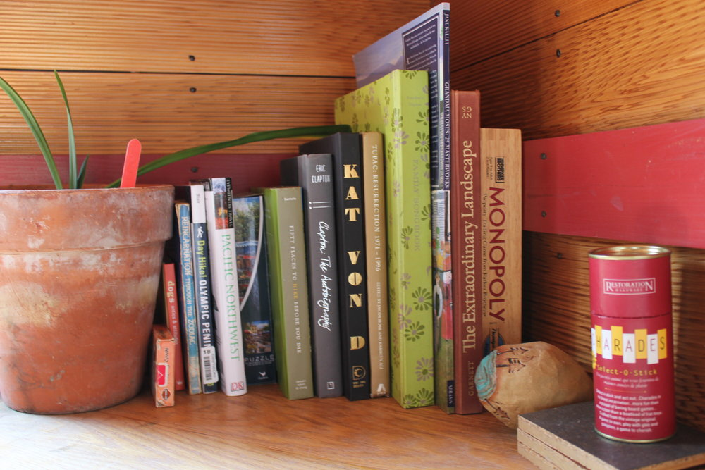 singing frog cabin books and games at plum nelli rustic farm stay.JPG