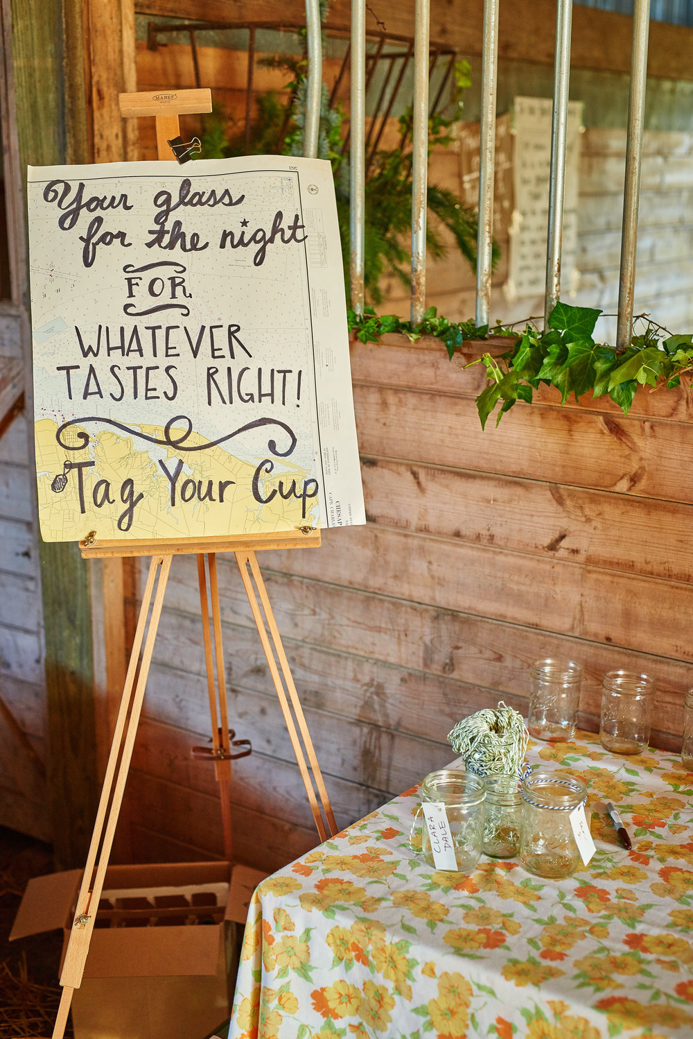 your glass for the night for whatever feels right farm wedding sign at plum nelli.jpg