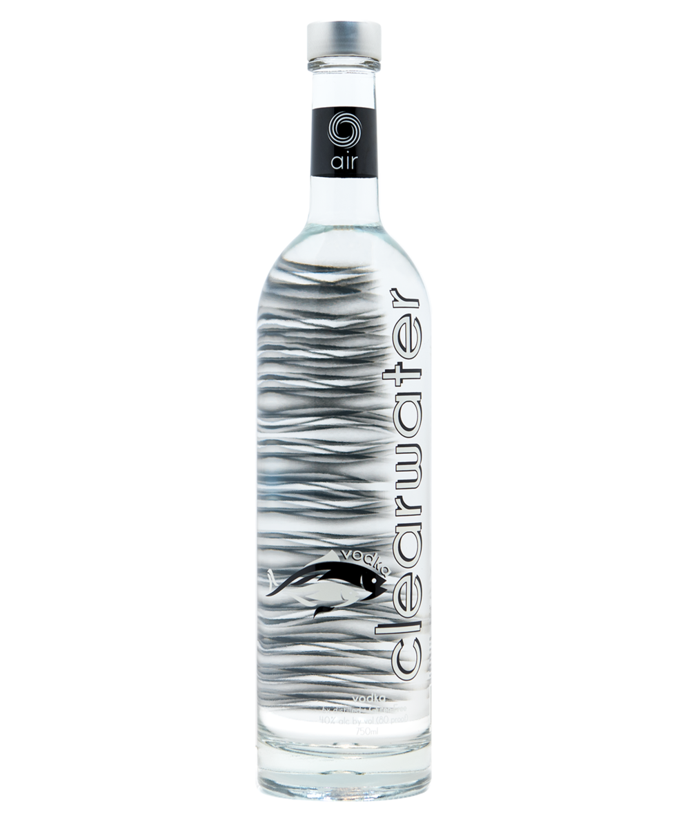 CLEARWATER AIR - Produced from corn and distilled six times to achieve a velvety texture, Clearwater Air is a premium American-made gluten-free vodka. Experience the clean, smooth finish with less alcohol burn.