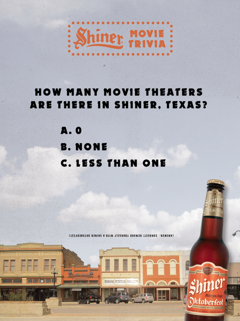 (Answer: Correct! Reward yourself with a Shiner Oktoberfest)