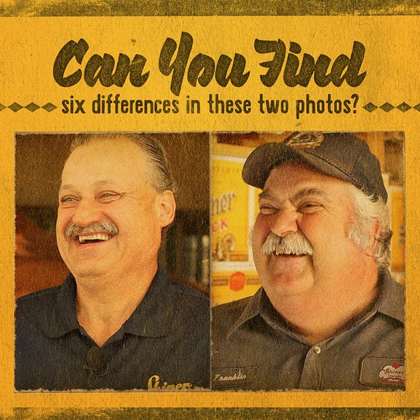 """1. Hat. 2. They're entirely different people. 3. One photo is a selfie. The other is actually an elaborate paint-by-numbers portrait. 4. Only one of these men is wearing pants. 5. The man who isn't a Capricorn is a Sagittarius (but neither knows it). 6. One picture shows a man smiling. The other shows a man saying the word, """"canoodle."""""""