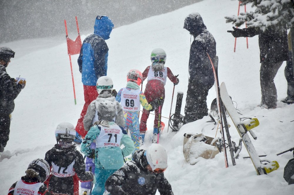The kids dealt with some really heavy snow, particularly on the race course.