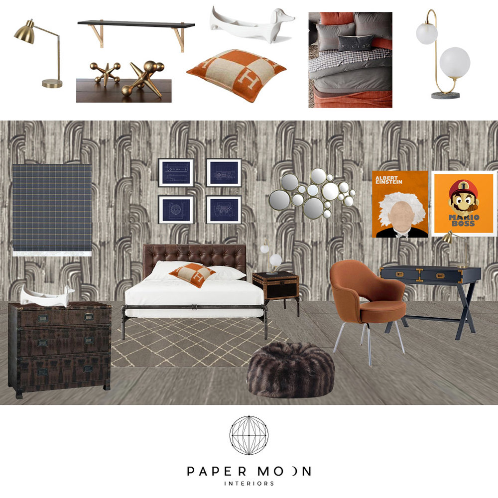 Online Interior Design Services Industrial British Library Gamer Teen Boy Bedroom San Francisco