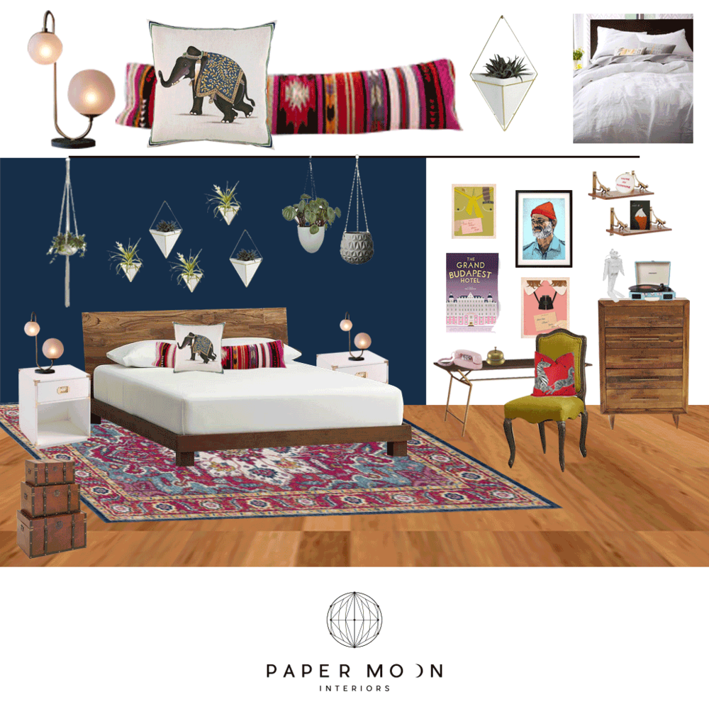 Online Interior Design Services Los Angeles Wes Anderson Eclectic Bohemian Bedroom