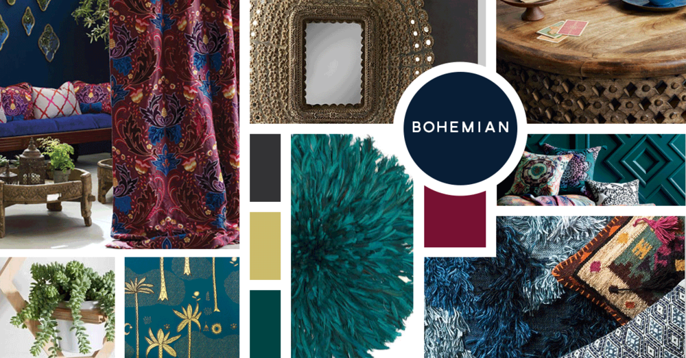 Bohemian Interior Design Style | Sources from top left: Osborne and Little, Restoration Hardware, West Elm, Morrissey Fabric, CB2, West Elm, Hygge and West, Loire Rugs