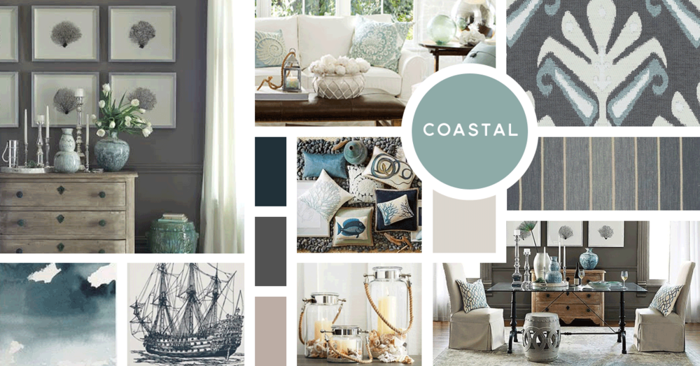 Coastal Interior Design Style |u0026nbsp;Sources From Top Left: William Sonoma  Home,