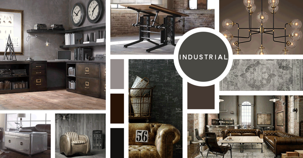 Industrial Interior Design Style |\u0026nbsp;Sources from top left: Restoration Hardware C&os & Interior Design Styles: Your Ultimate Guide \u2014 Paper Moon Interiors