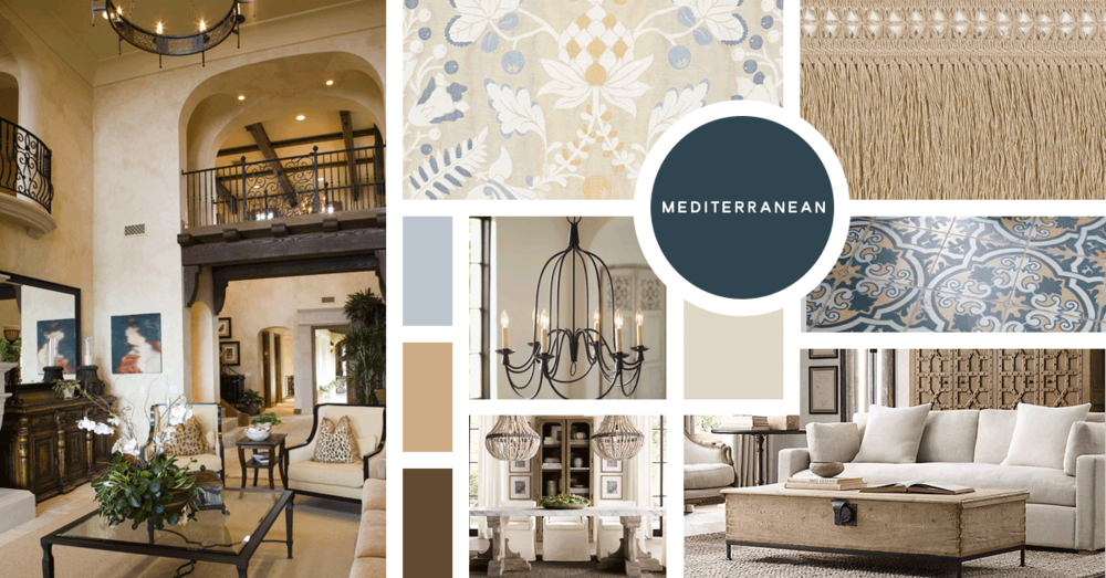 Mediterranean Interior Design Style | Sources from top left: Stock, F. Schumacher, F. Schumacher, Pottery Barn, Overstock, Restoration Hardware, Restoration Hardware