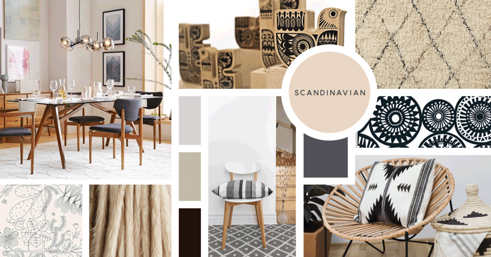 Scandinavian Interior Design Style | Sources from top left: West Elm, Sanna Annukka, Anthropologie, Sanna Annukka, F. Schumacher, Anthropologie, Stock, The Citizenry