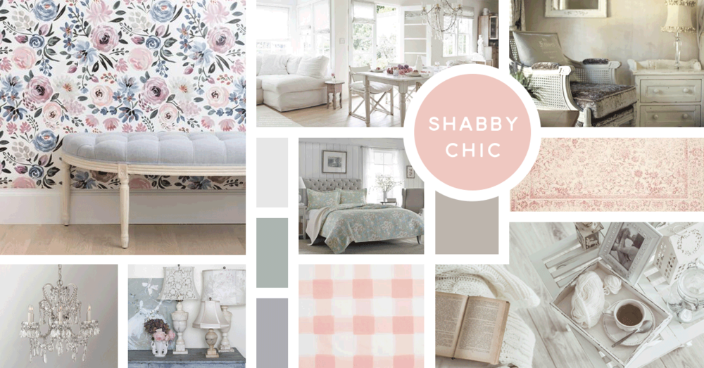 Shabby Chic Interior Design Style | Sources from top left: Caitlin Wilson, Rachel Ashwell, Stock, Overstock, Safavieh, RH Teen, Shabby Chic, Caitlin Wilson, Stock