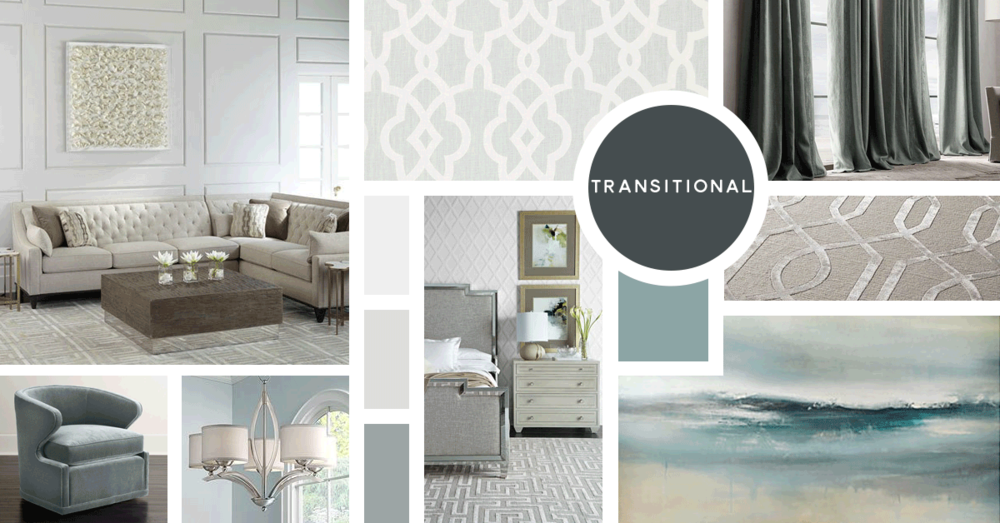 Transitional Interior Design Style |u0026nbsp;Sources From Top Left: Horchow, F.