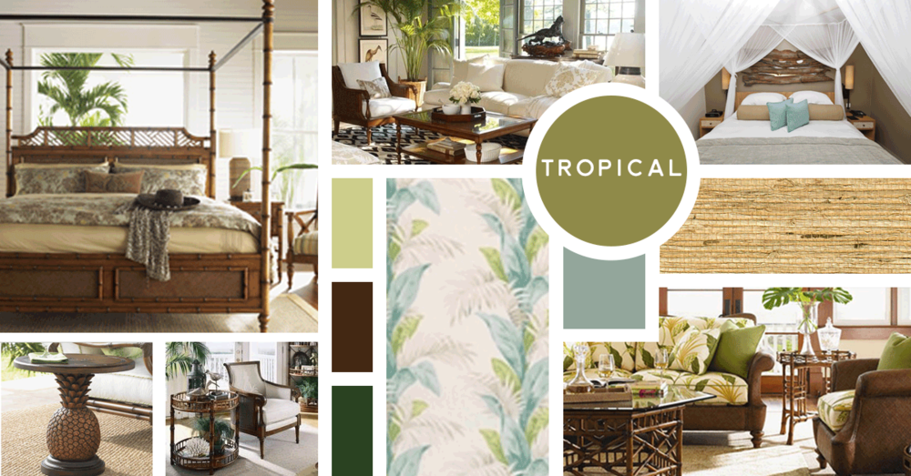 Tropical Interior Design Style | Sources from top left: Tommy Bahama Home, William Sonoma Home, Stock, Osborne & Little, Tommy Bahama Home, Tommy Bahama Home, Tommy Bahama Home