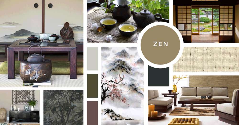 Zen Interior Design Style | Sources from top left: Stock, Stock, Stock, Nan Rae, Wayfair, Orchid Furniture, Wall & Deco Italy, Homewood Creation Furnishing