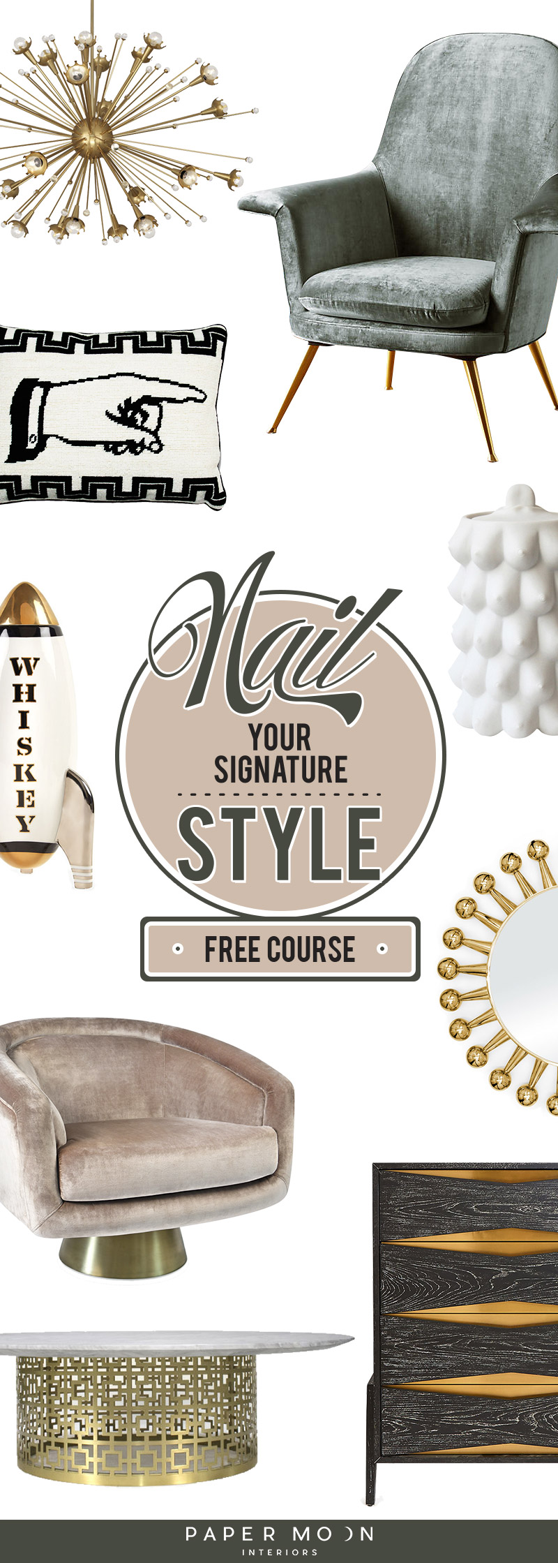 It's time to nail your signature interior design style with this free email course! You'll get eight email lessons, a workbook, and video masterclass. Stop pinning it and start nailing it!