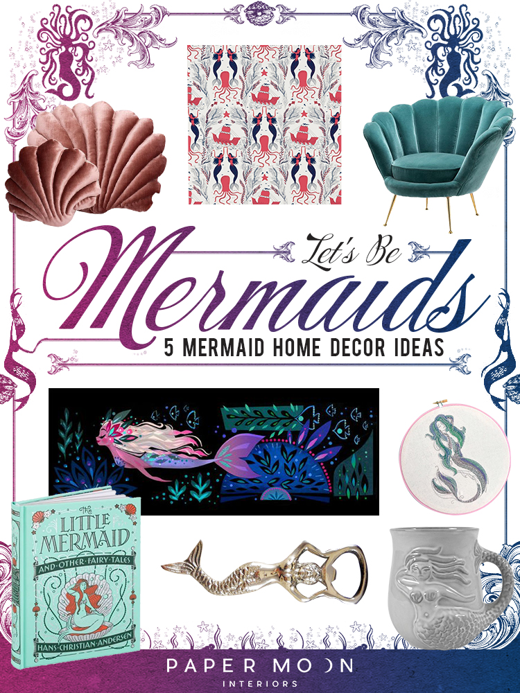 Calling all mermaids near and far! I've rounded up the best mermaid home décor ideas on the web to help you show off your love of fins, seashells, and all that's iridescently glamorous!