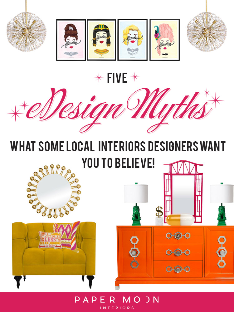 Oh, how some interior designers hate us eDesigners. I've seen so many people in my industry shunning us lowly online designers lately, that it actually makes me laugh. But instead of trying to convince them that they need to get with the times, I thought I'd spend some time this week shedding some light on what eDesign really is and busting all the virtual design myths that these other designers hope you believe. (But you won't- you're too smart for that!)
