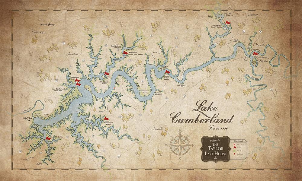 Lake Cumberland Custom & Regular Maps — Lake Art Shop