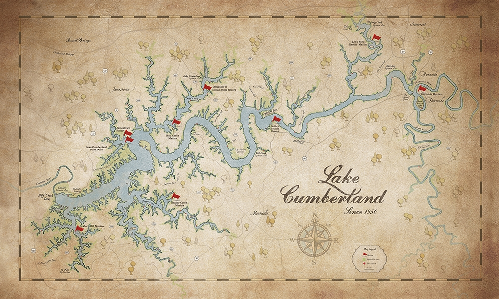 Lake Cumberland Custom & Regular Maps — Lake Art Shop