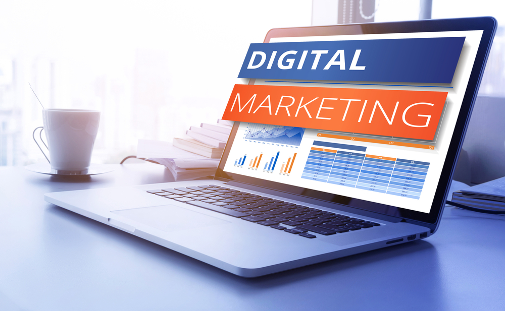 digital marketing concept with laptop