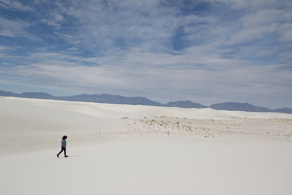 Me, White Sands National Monument, New Mexico   (All photos taken with my Canon EOS 7D Mark II.)