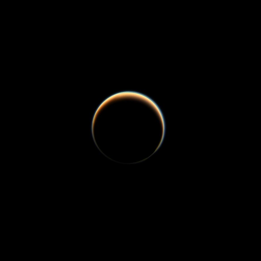 photo credit:  NASA Jet Propulsion Lab at CalTech , dark side of Saturn's largest moon, Titan
