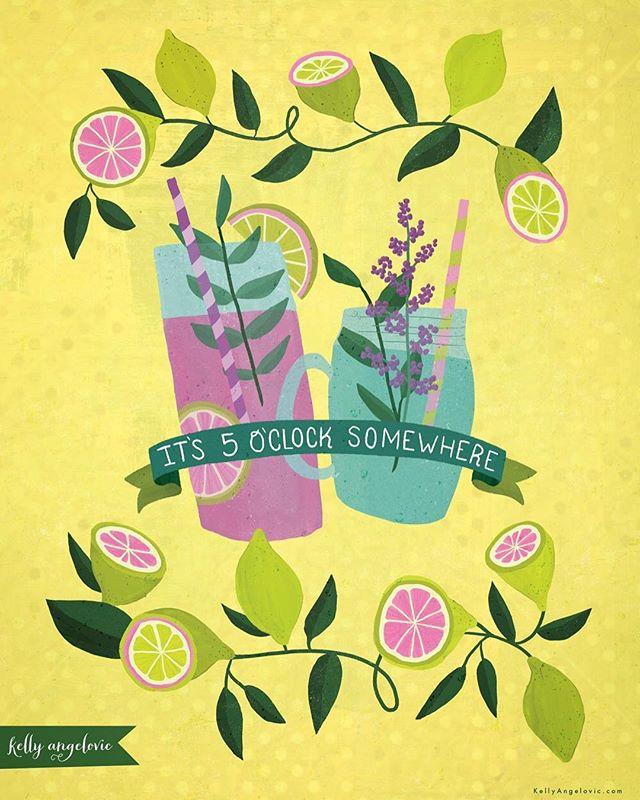 Guess what time it is? . . . #summerdrinks #cocktails #happyhour #illustratorsoninstagram #itstheweekend #dowhatyoulove #womenwhodraw #kellyangelovic #jennifernelsonartists