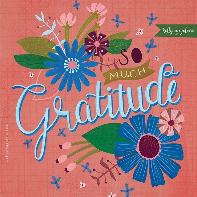 I'm grateful for YOU! Happy Friday. ✨  #handlettering #grateful #gratitude #surfacedesign #kellyangelovic #jennifernelsonartists