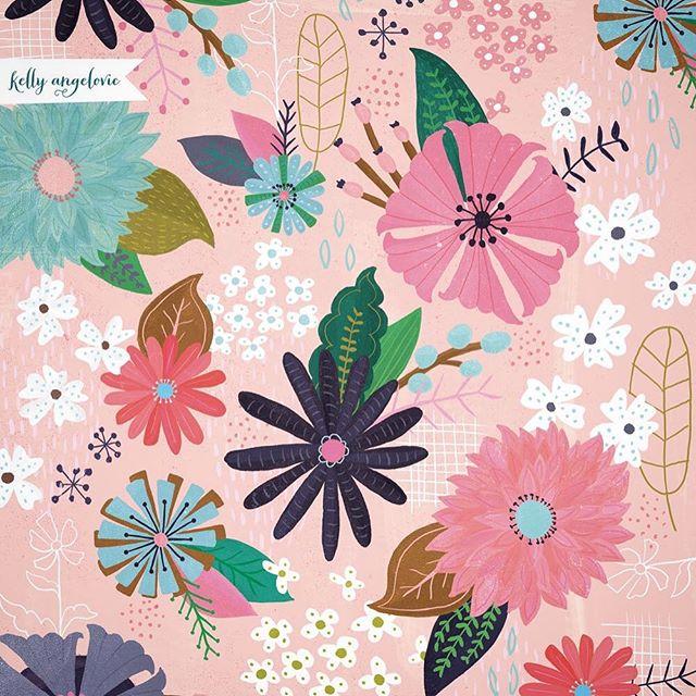My daughter goes back to school this week. Celebrating the end of summer with some new blooms. Happy Monday. . . #illustratorsoninstagram #surfacepattern #florals #freshflorals #flowers #ilovesummer #kellyangelovic #jennifernelsonartists