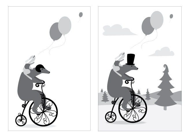 Balloons Illustration, Black and White sketches