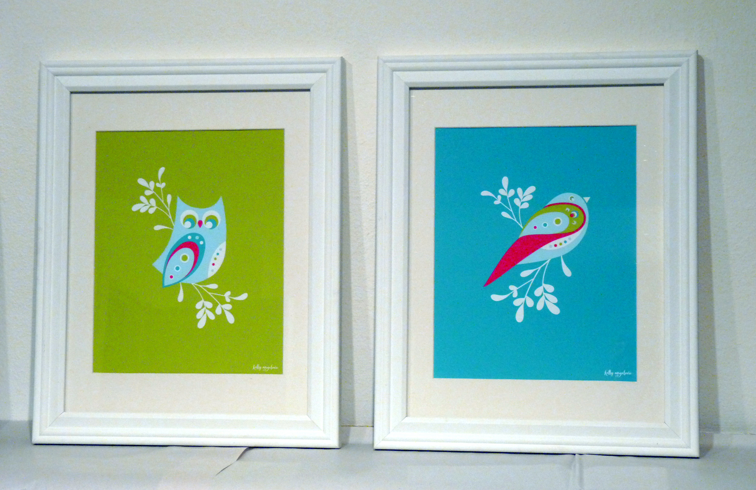 Framed Owl and Bird prints for sale