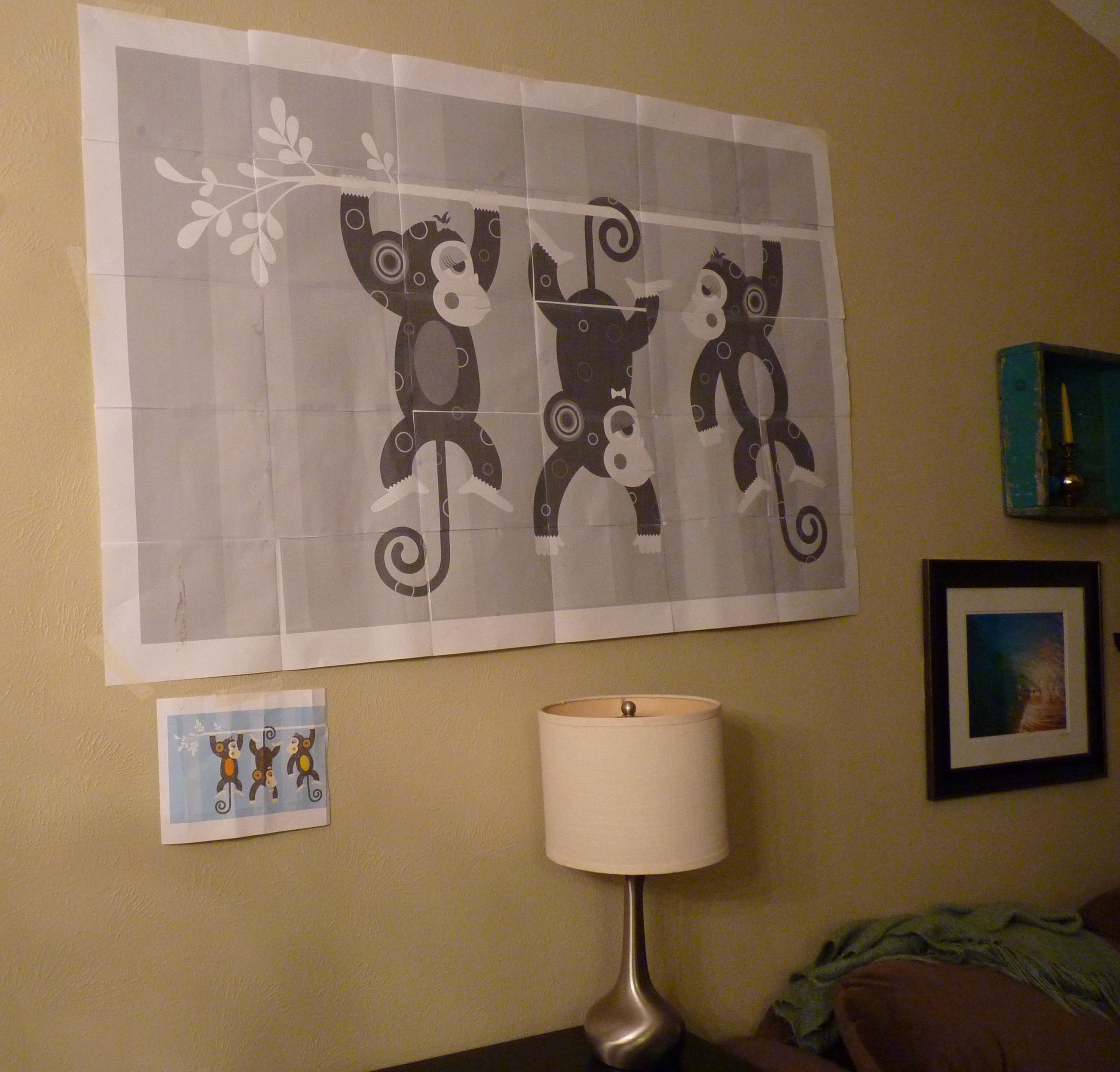 Monkey art comped on wall