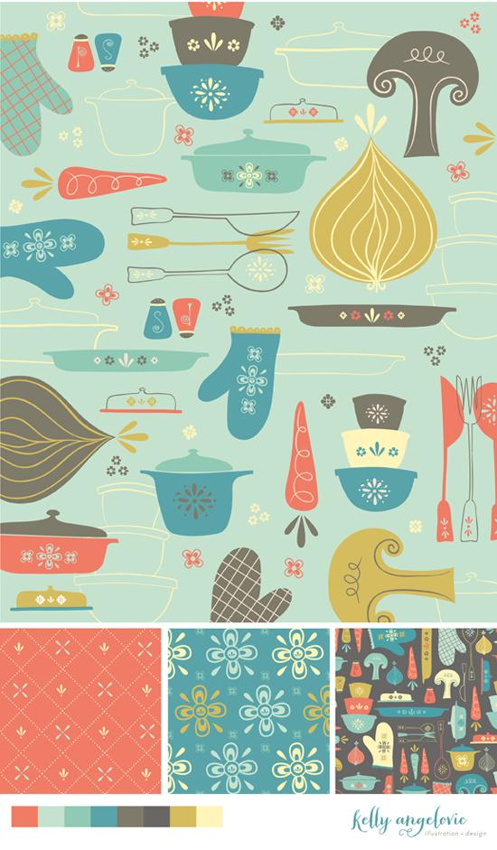 Vintage Kitchen Fabric Pattern