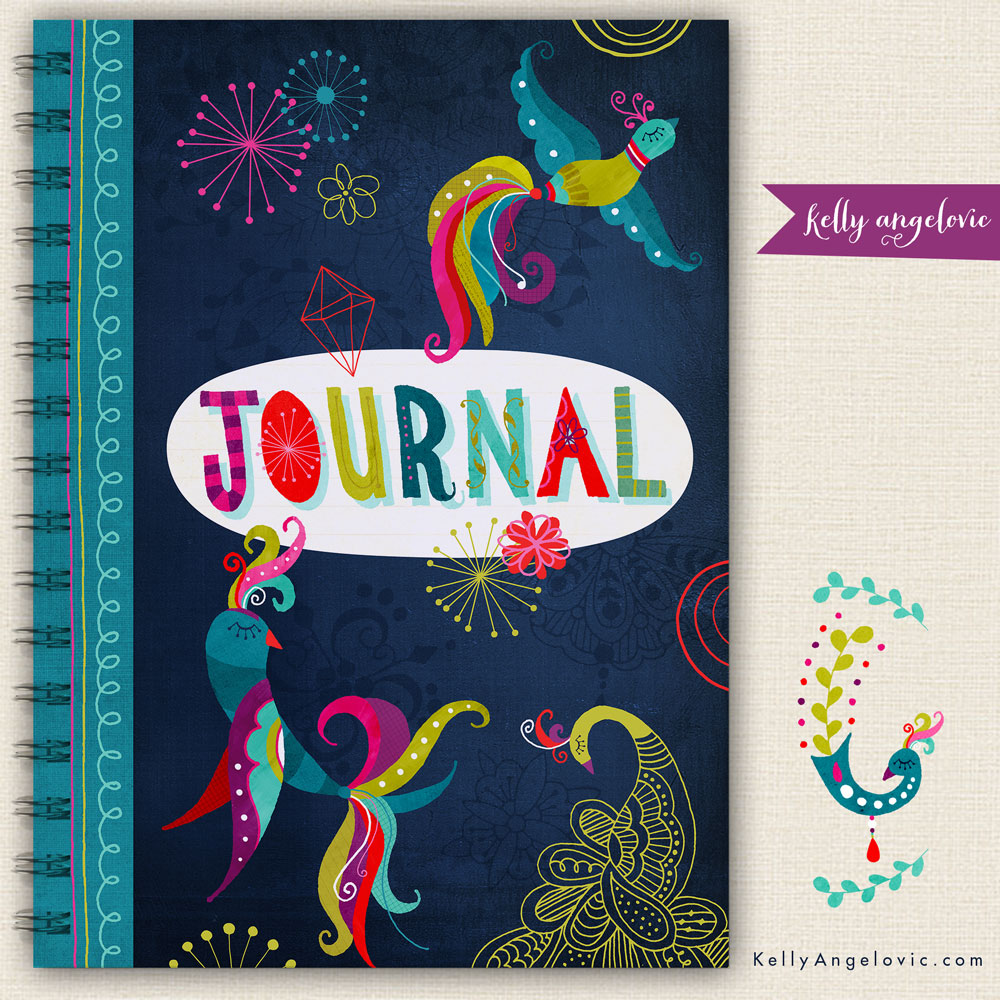 Jewel Themed Fancy Feathers Journal Cover Kelly Angelovic