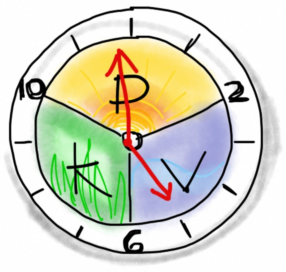 12 hour clock times for the different body types of Vata/Pitta/Kapha - Discover your type during an Ayurvedic consultation