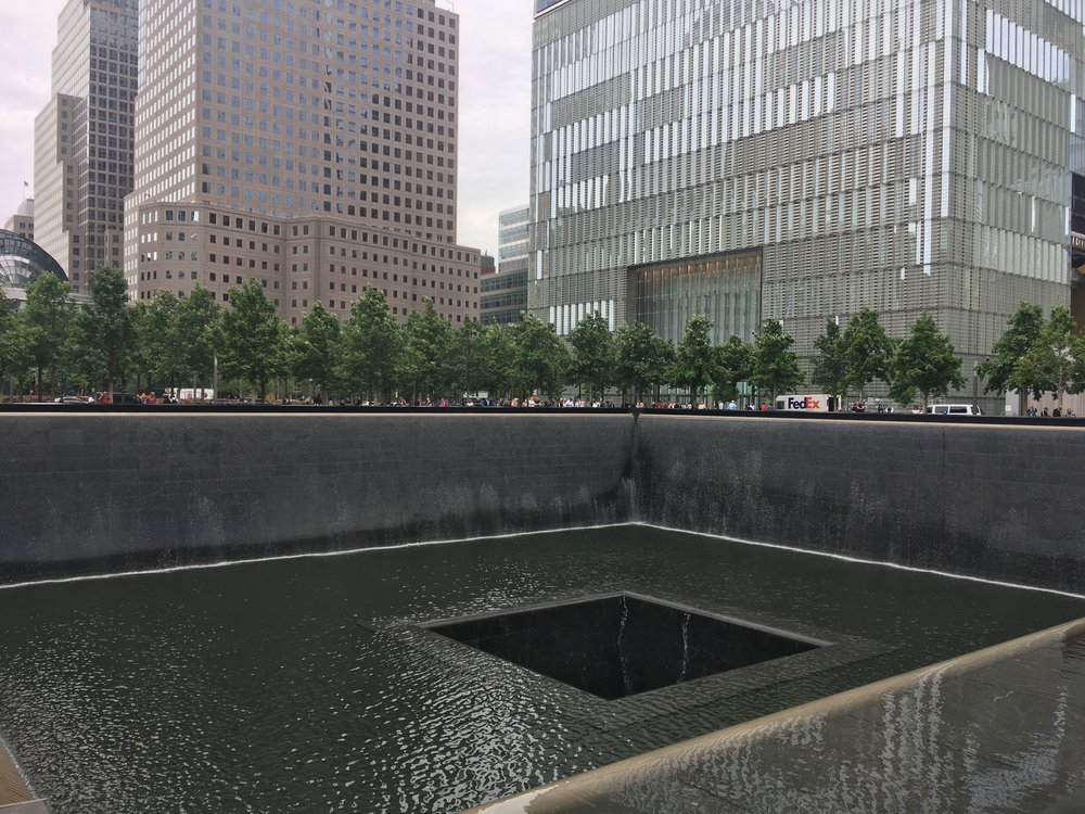 One of the fountains at the 9/11 Memorial