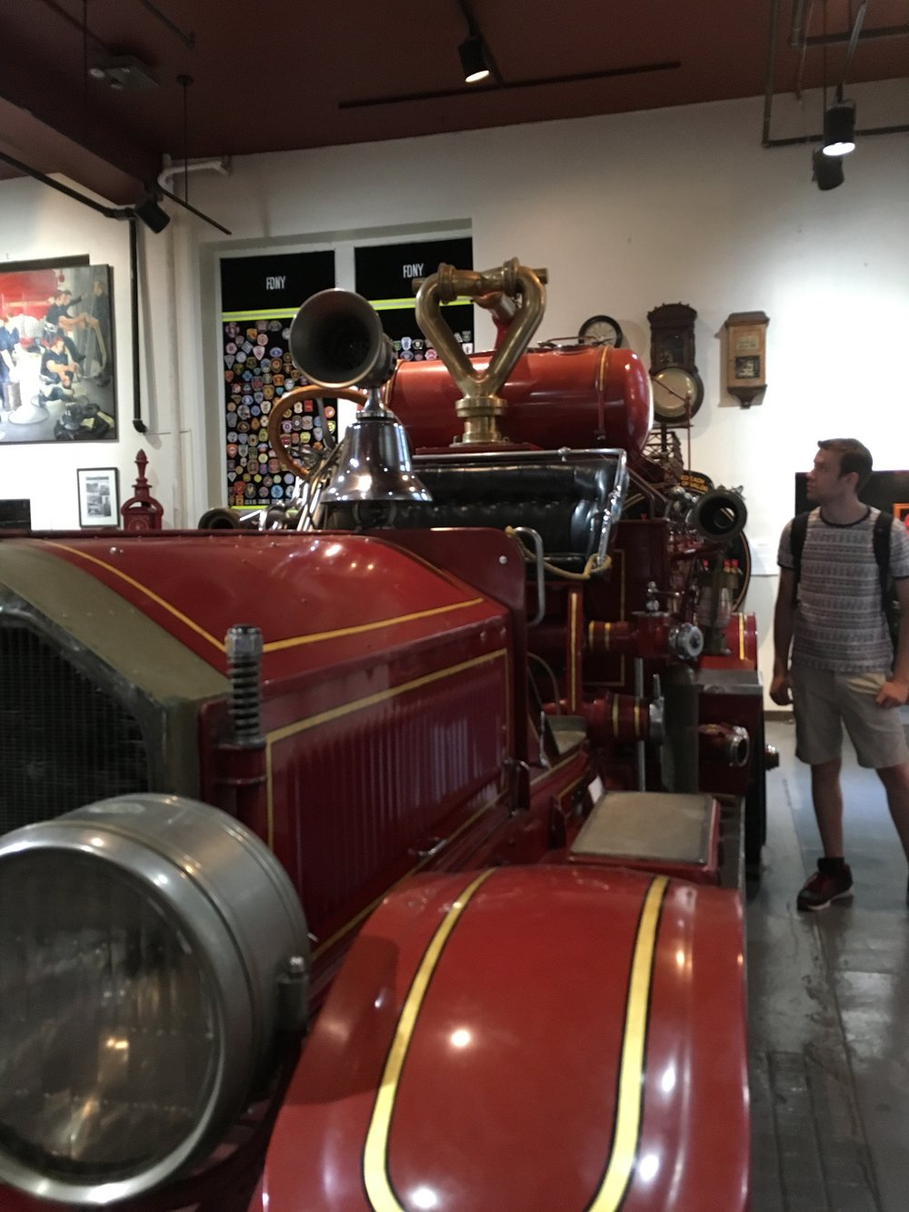 A historic firetruck from the NYC Fire Museum