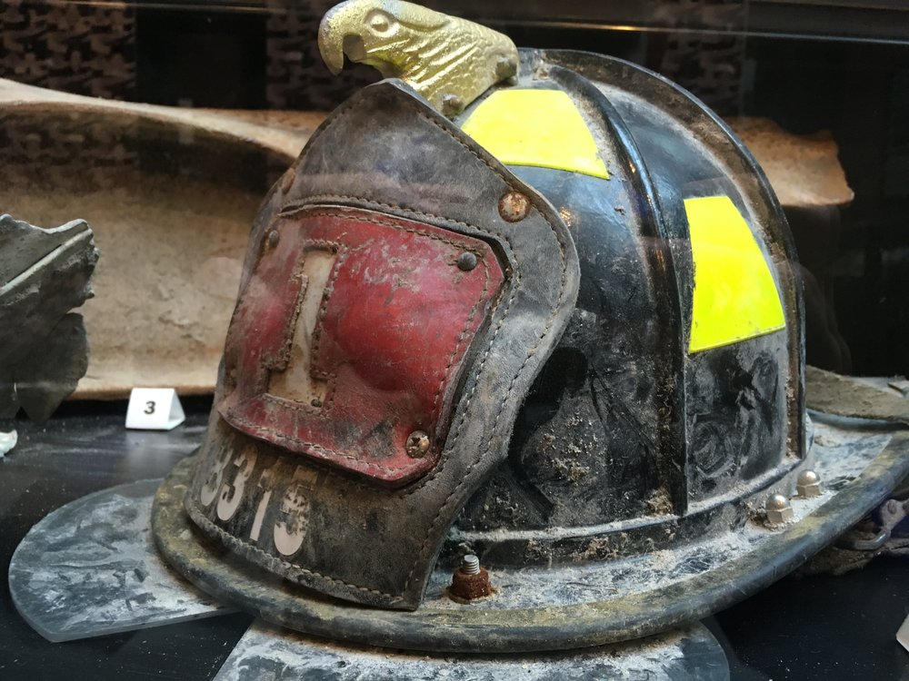 One of the actual helmets worn during a 9/11 rescue mission