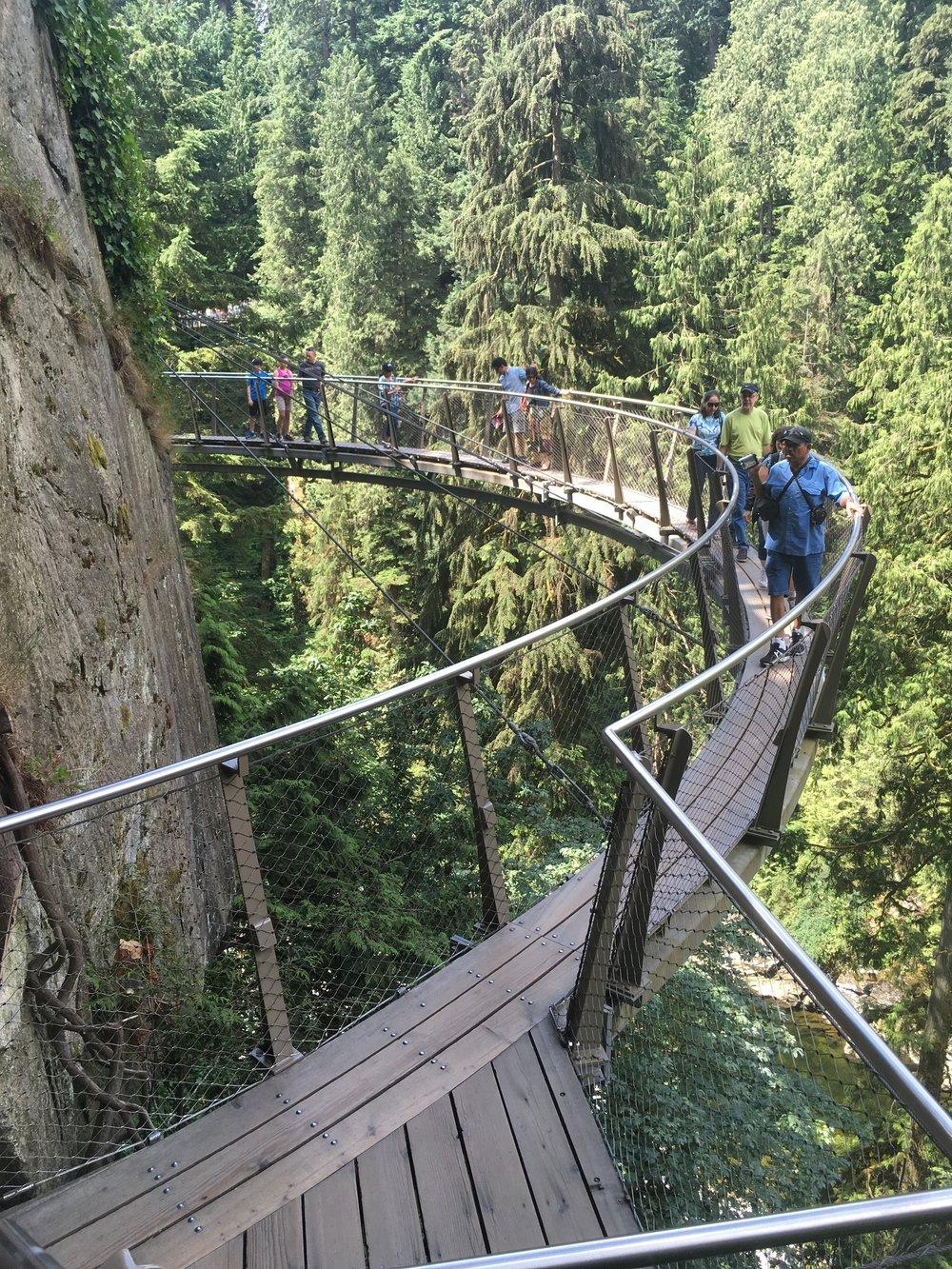 The rock-mounted suspension bridge at Capilano Park