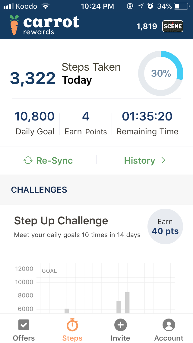 The app will automatically assign you a step goal to reach.