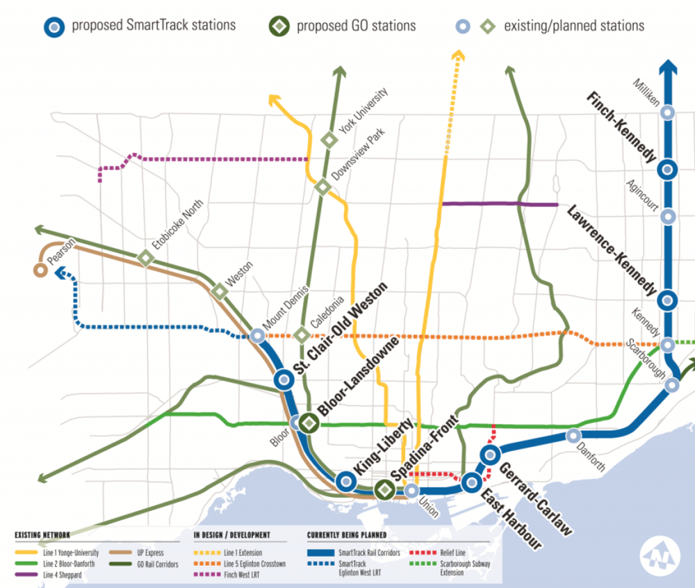 A map of both the existing and new stations along the SmartTrack route that would make up the service. 📸:  SmartTrack
