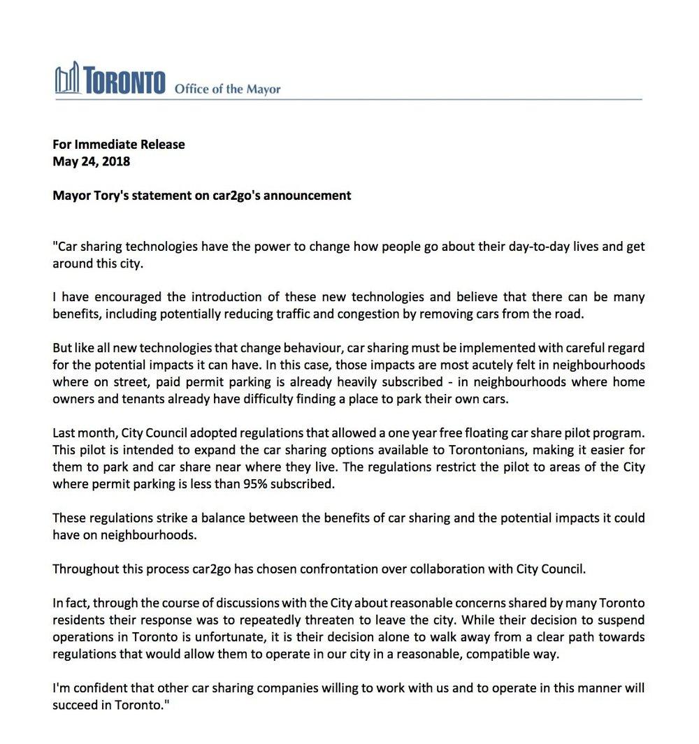 📸: Toronto mayor John Tory on  Twitter