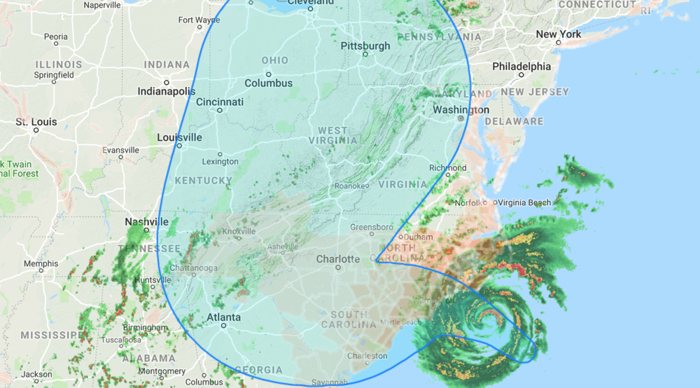 Hurricane Florence is reigning lose on the US and could cause up to 40 inches of rain, according to the  Federal Emergency Management Agency . Updated September 13 at 10:35 pm GMT, the darker the brown, the more rain the location will receive. 📸:  Google Crisis Response