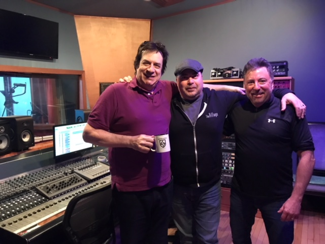 "Jeff Berlin, Todd Whitelock, and John McCracken at FLUX Studios NYC for the ""Joe Frazier - Round 3"" mix session"
