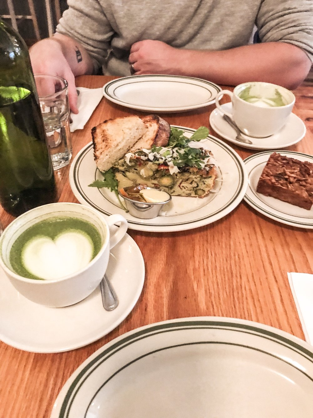 Matcha latte / Brussel Sprouts Frittata - it was hard for me to choose what I want because everything on the menu sounds so good. I had their Frittata and I enjoyed it, their Breakfast Salad is so popular, I'm going to have to try it next time!