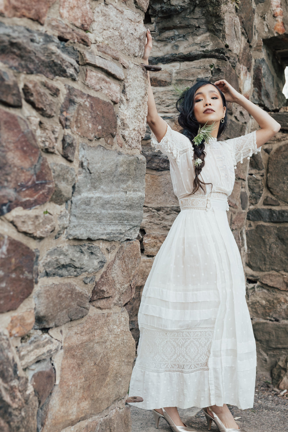 GO VINTAGE - You can often find BEAUTIFUL white dresses at vintage stores! The vibes vintage clothes carry… it's indescribable but white vintage dress is a must have if you adore vintage clothing. Play around with accessories to change up!