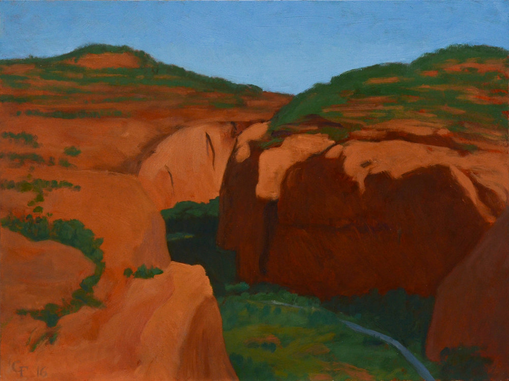 "Long Canyon, oil on panel 9"" X 12"""