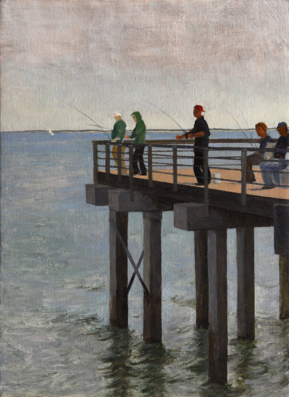"Coney Island Fishing Pier, o/p, 16"" x 12"""