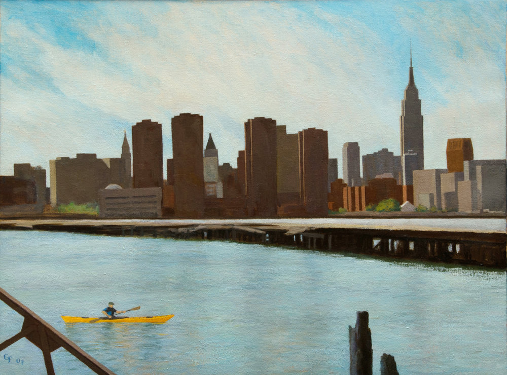 "East River and Kayaker, o/c, 18"" x 24"""