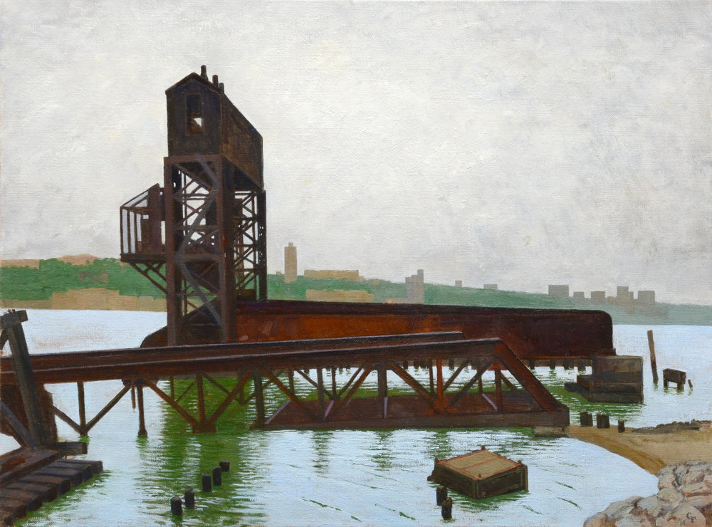 "Rail Pier, oil on canvas, 18"" x 24"""